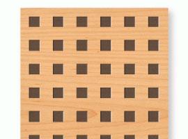 Falsos techos registrables madera perforación cuadrada